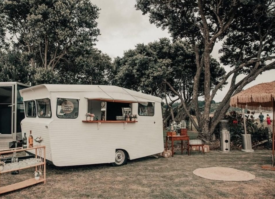 Opito Bay wedding, vintage caravan bar